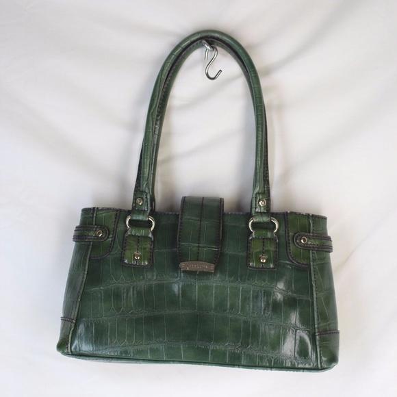 6e4d5ba541 Liz Claiborne Handbags -  RTS  Liz Claiborne • Green Gator Skin Handbag