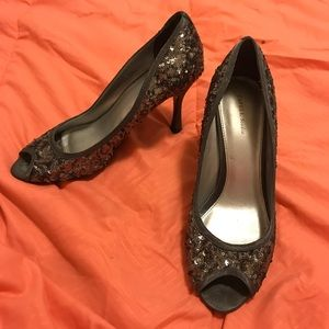 Papell Studio Grey Sequined Heels
