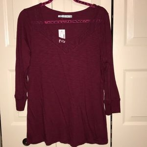 Maurices Maroon 3/4 Long sleeve Top