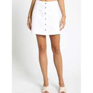 NWOT white a-line button down skirt