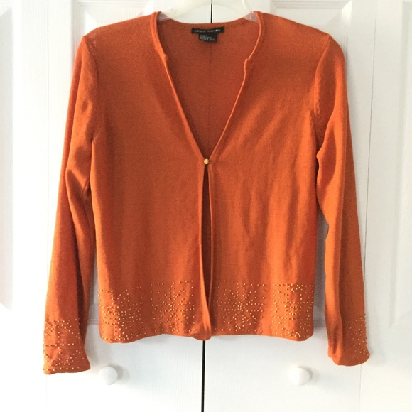 Pierre Cardin Sweaters Womens Burnt Orange Beaded Cardigan Poshmark