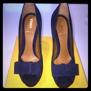 Pair of Blue Fendi leather peep -toe heels