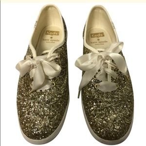 Kate Spade Platinum Glitter Keds Sneakers, Size 6M