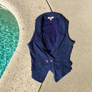 Navy Lux Knit Crop Vest