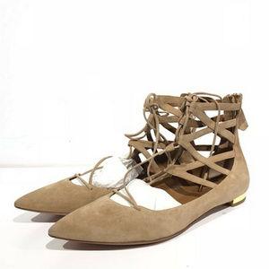 Aquazzura Nude Belgravia Suede Leather Flats