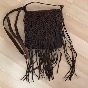 Vintage brown handmade leather messenger bag