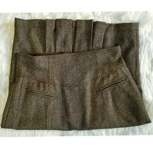 Nanette Lepore Pleated Wool Pencil Skirt 8