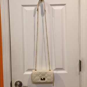 Cream Zip Up Clutch with Strap