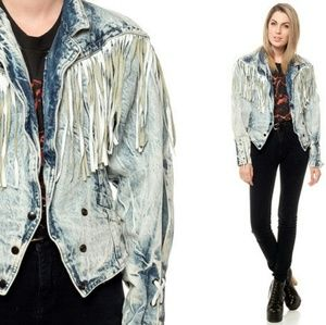 Vintage Denim Leather Fringe Cropped Jacket