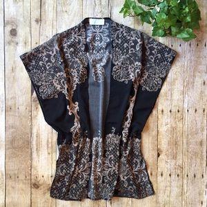 Tops - Black/Ivory Lace Print Silky Open Kimono Top M