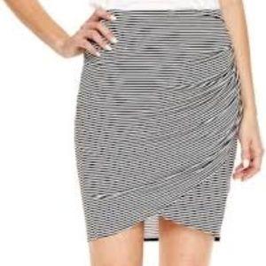 Ana Ruched B/W Stripe Skirt