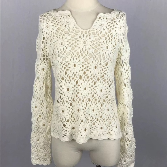 e000ddca2dad Express Sweaters - Express Hand Knit Flower Crochet Ivory Sweater