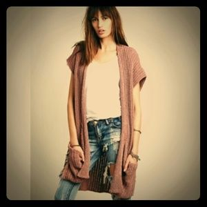 Free People Sloppy Pocket Knit Vest Brown
