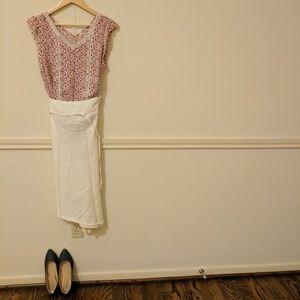 Dresses & Skirts - Asymmetric cream linen skirt