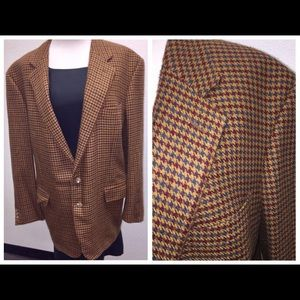 Zegna Wool Houndstooth Check Sport Coat Jacket 56L
