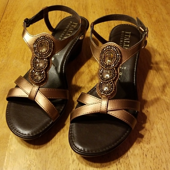 0212e4e61808 Italian Shoemakers Shoes - Italian Shoemakers Bronze Bling Strap Sandals
