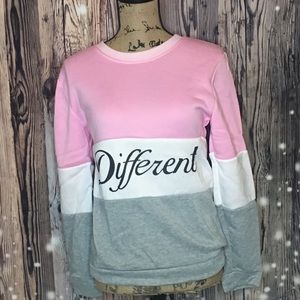 Small Pink, Gray, White long sleeve pullover