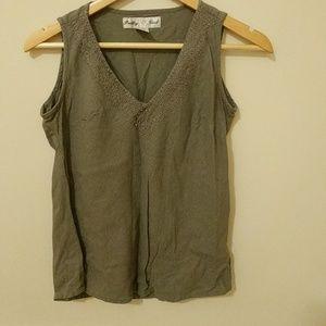 Tops - Army green linen top