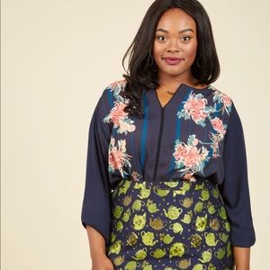 3X ModCloth Podcast Co-Host Navy Floral Blouse