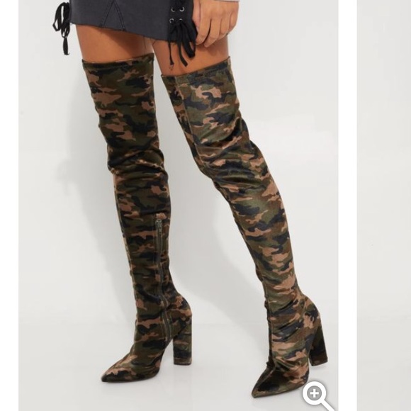 bc3cef86514 Thigh high over knee boots camo suede camouflage