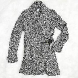 Cache Sweater Cardigan Large Buckle Shawl Neck