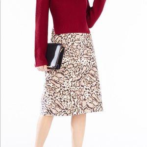 BCBG Margaux  Spotted Ocelot Faux-Fur Skirt