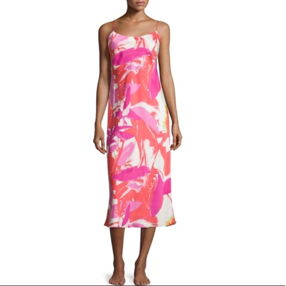 Natori Dresses | Lucent Palms Tropicalprint Satin Gown | Poshmark
