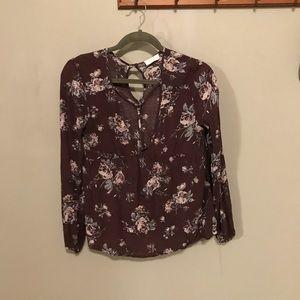 Purple floral long sleeve blouse