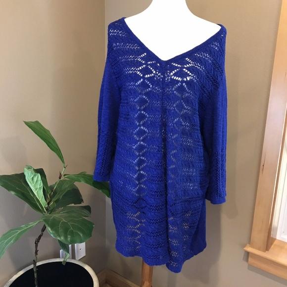 f3f2e32c2c Catherine s Plus Size Open Weave Sweater 1X Cobalt