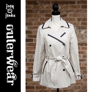 🆕 Off White Trench Coat Faux Leather Trim Small