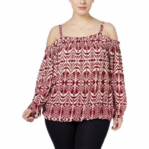 152a4bf1c6c INC International Concepts Tops - INC Cold Shoulder Print Top Blouse 18W Plus  Size