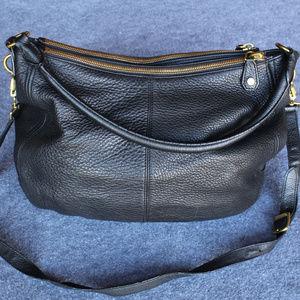 J. Crew Black Pebbled Leather Biennial Hobo Bag