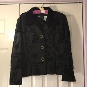 Gorgeous Black Jacket Velvet Print Overlay