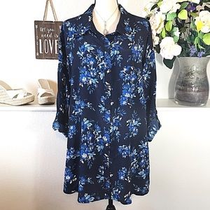 Blue Floral Flower Button Up Blouse Top New