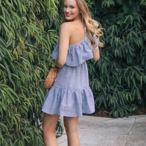 Blue and white gingham one shoulder dress