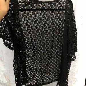 Black mesh cardigan