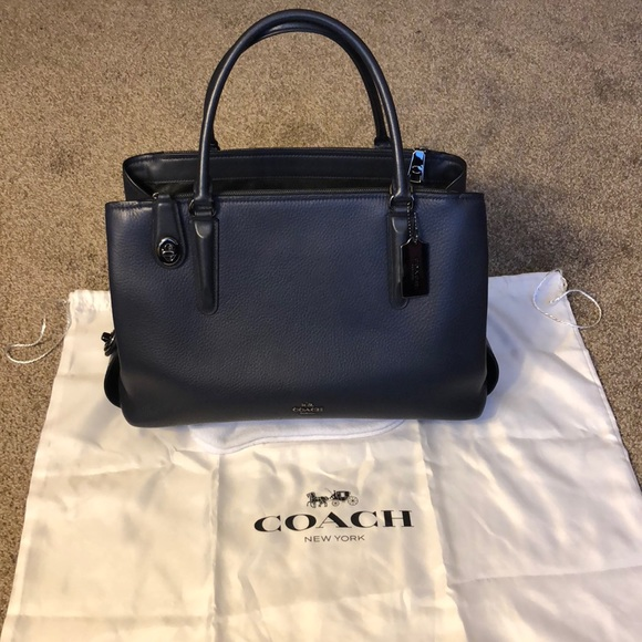 Coach Handbags - Coach Brooklyn Carryall 34 - Navy Blue - Handbag a10eba1ad4