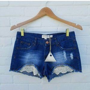 Mystic Prism by Listicle Denim Lace Cut Off Shorts