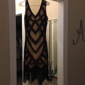 Dresses & Skirts - Black and beige fringe dress