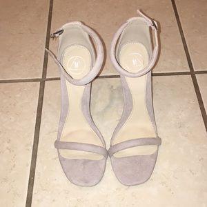 Grey Faux Suede Heels