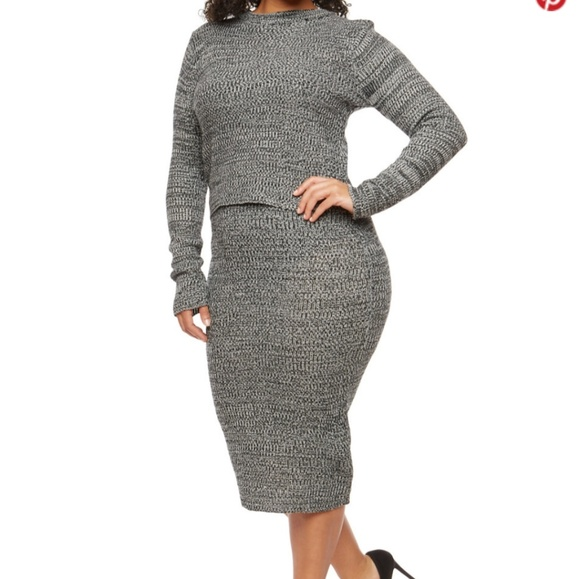 12c9a8232837f Marled Sweater Skirt Set Black Gray. Boutique.  17  0. Size