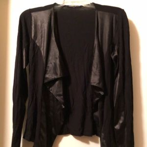 Tops - Cardigan with faux leather detail