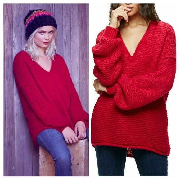 4c9e7b3ee7fd Free People Sweaters - Free People All Mine V-Neck Sweater Raspberry Red