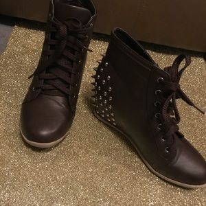 Shoes - Brown Studded Lace-Up Ankle Booties