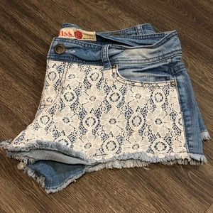 Laced Front Jean Shorts