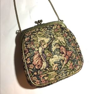 Vintage JR Victorian Tapestry Handbag Purse Chain