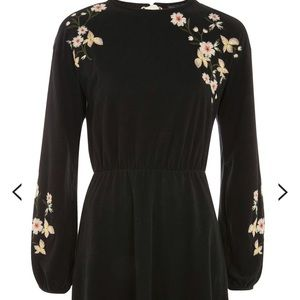 Top shop Embroidered Black dress NWT