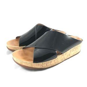 FitFlop Kys Black Patent Slide Sandal Size 8