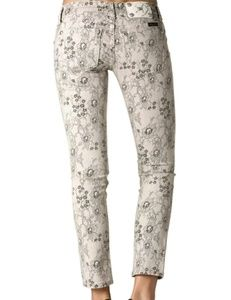 Miss me off white/ivoryw/ black lace print skinny