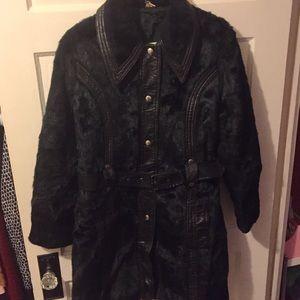 Vintage Fur + Leather Black Coat